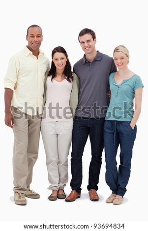 Two couples smiling against white background - stock photo