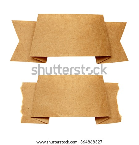Two craft paper ribbon isolated on white - stock photo