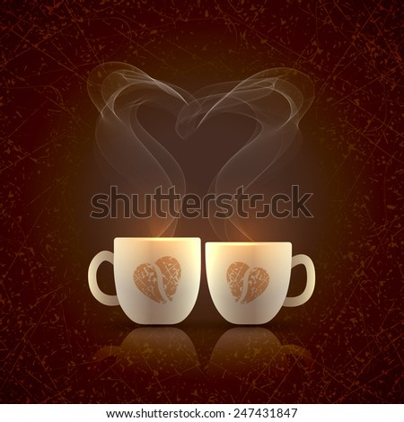 Two cream color cups, decorated with coffee beans in the form of heart, stand together with fragrant steam in the form of heart on a dark grungy background on Valentines Day - stock photo