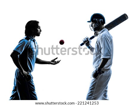 two Cricket players in silhouette shadow on white background - stock photo