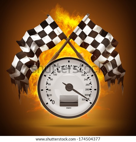 Two crossed checkered flags. Speedometer in Fire Black Background. High resolution. 3D image - stock photo