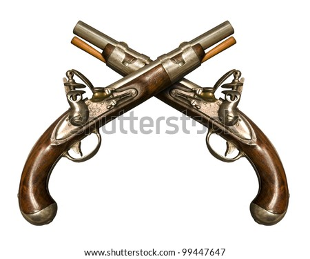 Two Crossed Flintlock Pistols against white background. Flintlock pistols manufactured by gunmaker Simeon North circa 1813, although similar to what was used during the American Revolution. - stock photo