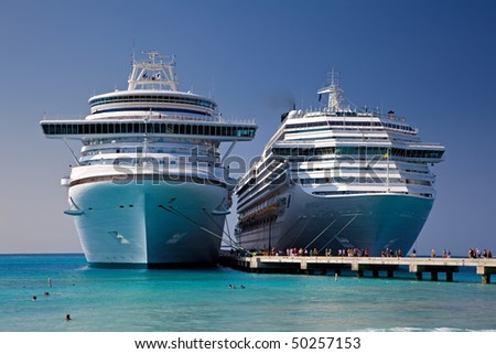 Two Cruise Ships Docked in Grand Turk Island - stock photo