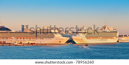 Two Cruise Ships in Port Everglades, Fort Lauderdale, Florida - stock photo