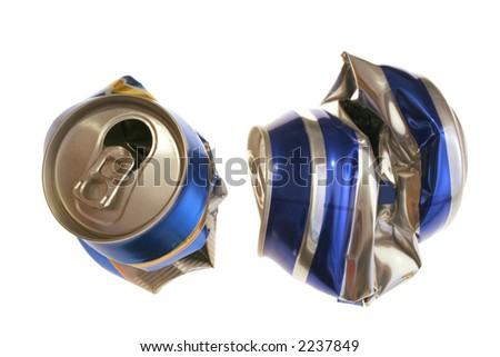 two crushed beer cans captured over white - stock photo