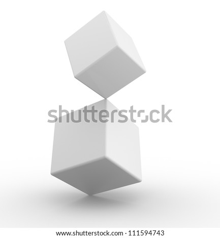 Two cubes in concept of balance. 3d render - stock photo