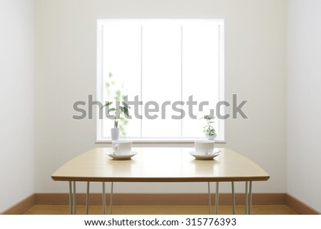 two cups of coffee on the table - stock photo