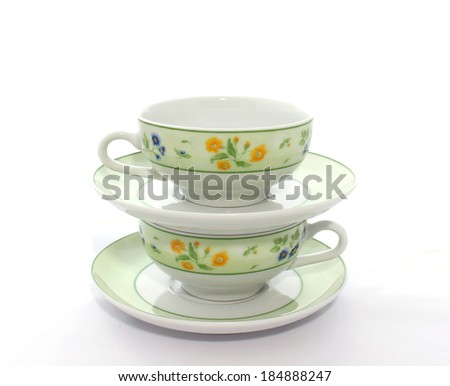 two cups on white background  - stock photo