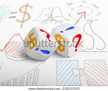 two currency dices on doodles background - stock photo