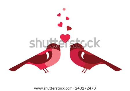 Two cute bird lovers on pink hearts shaped - stock photo