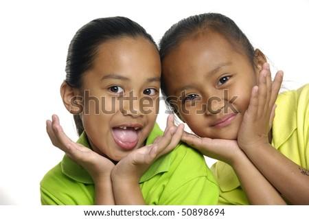 Two cute girls - stock photo