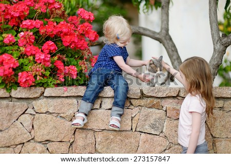Two cute little sisters and a cat outdoors - stock photo