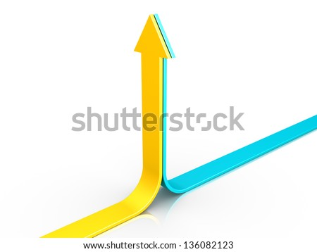 Two 3d arrows are pointing upwards together - stock photo