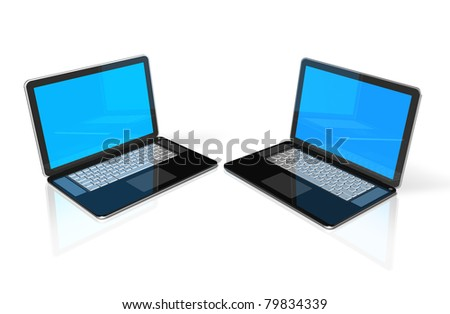 two 3D black laptop computers isolated on white - stock photo