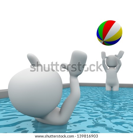 Two 3D characters playing ball in a waterpool. - stock photo