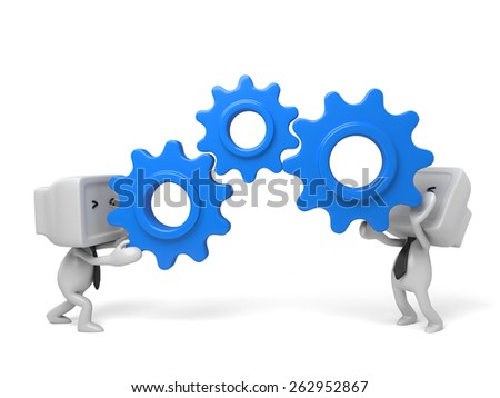 two 3d humans keep gears in hands. 3d image. Isolated white background - stock photo