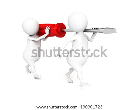 two 3d man carry red screwdriver. 3d render illustration - stock photo
