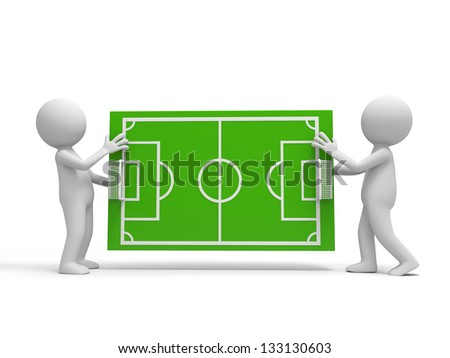Two 3d men carrying a football field model - stock photo