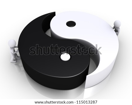 Two 3d people are pushing the two parts of a yin and yang symbol - stock photo