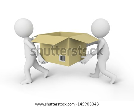 Two 3d people carrying the Package box - stock photo