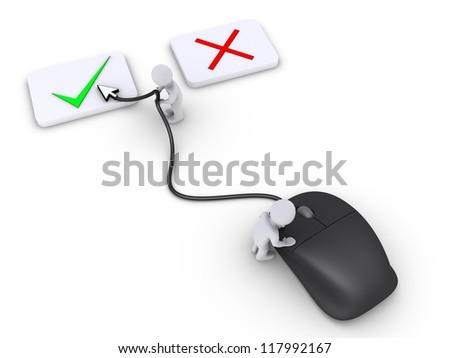 Two 3d persons are using mouse to select the right choice - stock photo