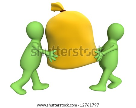 Two 3d puppets carrying big bag. Object over white - stock photo