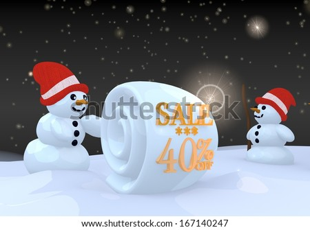 two 3d rendered cute snwoman in winter landscape with a Christmas sale 40 percent off symbol on a snowball - stock photo