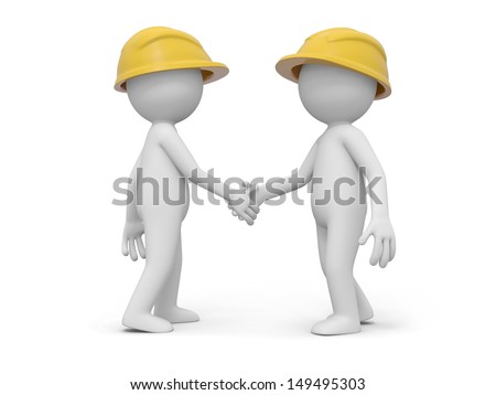 Two 3d safety workers shaking hands with each other - stock photo