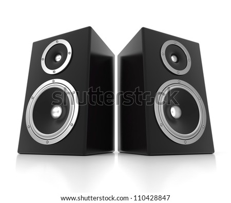 Two 3d speakers isolated on white background - stock photo
