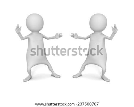 Two 3D white men in fighting position on white backgrund. 3d render illustration - stock photo
