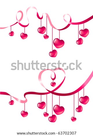 Two decorative design elements with hearts and ribbons. Raster version. Vector version is in my gallery. - stock photo