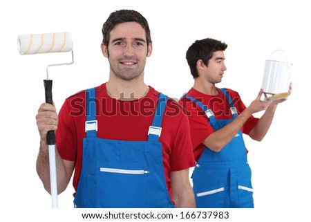Two decorators - stock photo