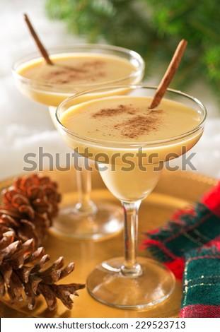 Two delicious eggnog cocktails with cinnamon sticks and cinnamon garnish. - stock photo