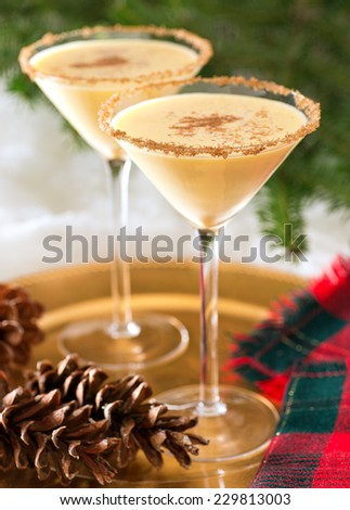 Two delicious eggnog martinis with brown sugar rimmer and cinnamon sprinkle. - stock photo