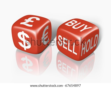 Two dice showing the gambling nature of buying and selling currency - stock photo