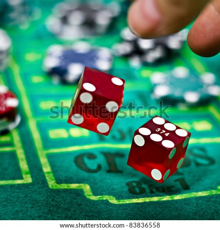 Two dices for craps gambling game - stock photo