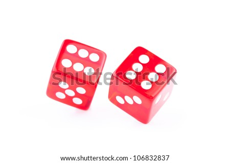 Two dices rolled against a white background - stock photo
