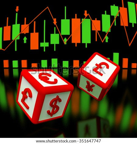 Two dices with currency symbols om it in flying, and background with  chart of japan candlesticks. 3d rendered image. - stock photo