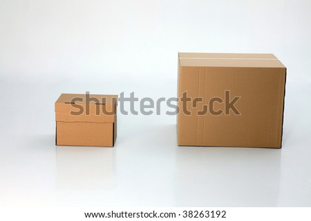two difference size of box side by size - stock photo