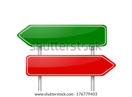 Two different direction arrow road signs red and green - stock photo