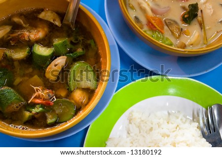 two different kinds of thai soups - stock photo