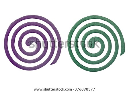Two different scented mosquito coils isolated on white background - stock photo