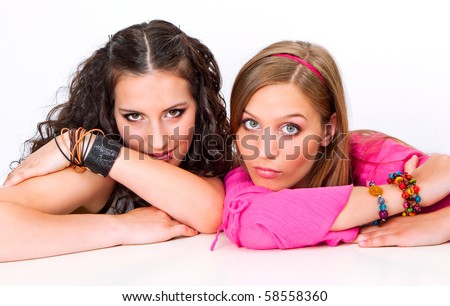 two different teenage-girls - stock photo