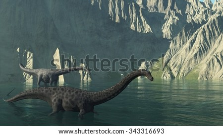 Two diplodocus dinosaurs at the base of a rocky cliff - 3d render. - stock photo