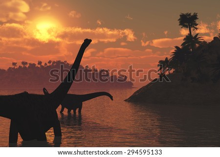 Two diplodocus dinosaurs roaming in the late day sun - 3d render. - stock photo