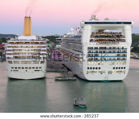 Two docking cruiseships in the port of St. John's / Antigua... - stock photo