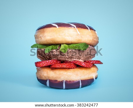 two donuts, chocolate ice cream, srawberry with mint in sandwich on blue background - stock photo
