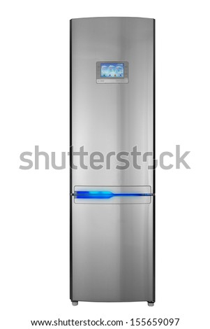 Two door refrigerator isolated on white - stock photo