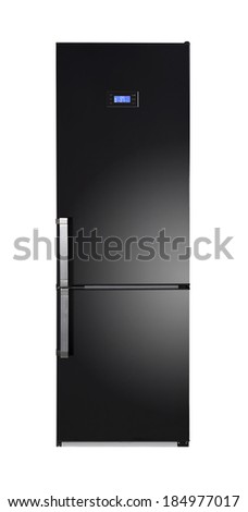 Two door shiny black refrigerator isolated on white - stock photo