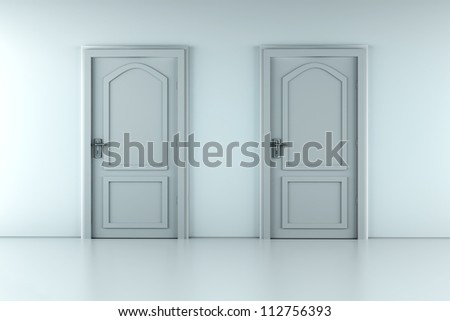 Two doors in a empty room. 3D rendered illustration. - stock photo